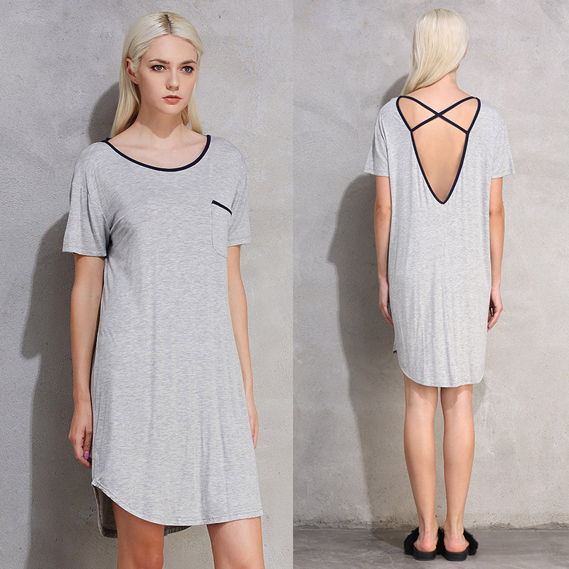 Nightgowns <font><b>Plus</b></font> <font><b>Size</b></font> Sleepshirts Summer Night <font><b>Dress</b></font> Casual Home <font><b>Clothing</b></font> Round Neck <font><b>Sexy</b></font> Backless Sleepwear <font><b>5XL</b></font> <font><b>6XL</b></font> image