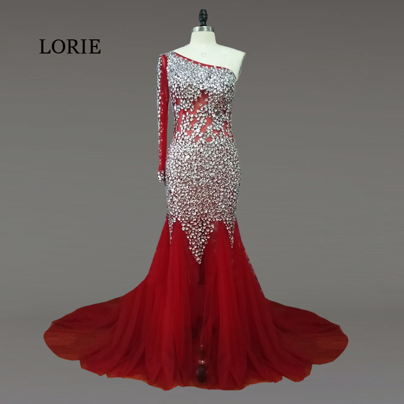 LORIE Luxury   Evening     dress   Plus Size One Shoulder Beaded with Crystals Bling Bling Shining Lace up Mermaid Prom   Dress   for Party