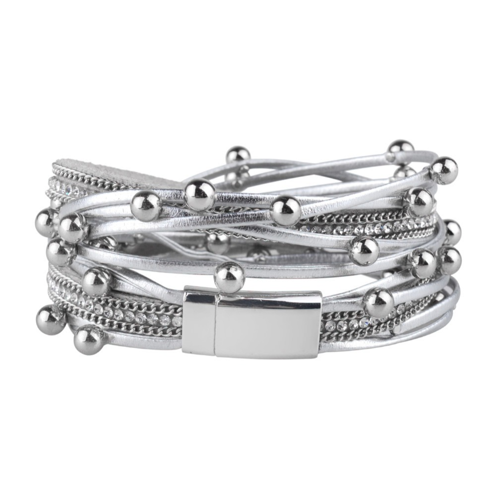 Kirykle Multilayer Leather Bracelets for Women Femme Crystal Metal Beads Charm Bohemian Style Bracelet Female party Jewelry