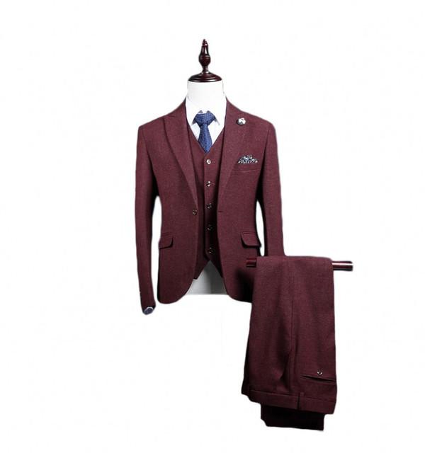 2017 Mens Ternos Padrinho de casamento Noivo Smoking Custom Made Best man 3 peças Homens vestidos de Casamento/Jantar/Prom Noivo (jaqueta + Calça + Colete)