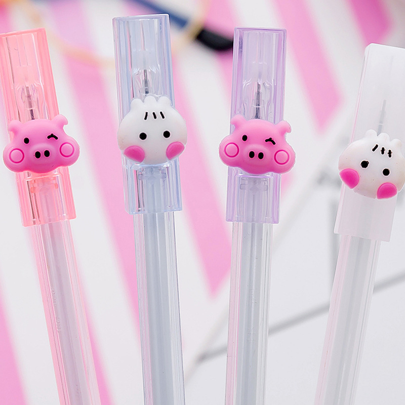 Cute Kawaii Cartoon Girl Pink Pig Neutral Pen Candy Color Cat Gel Pens Student School Stationery Office Supplies For Kids Gifts