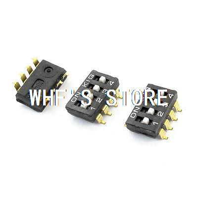 3 Pcs PCB Mount 4-Position 2.54mm Pitch SMD Type Key DIP Switches diy 4 position 2 54mm pitch dip switches 10 piece pack