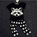 Brand Summer Baby Boys Clothing Set Short Sleeve Cotton Black Cartoon Clothes Set Black T Shirt Pant 2pcs Set