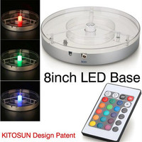 2pcs Lot Party Wedding Supplies 1 LED Multicolor Light Light Stand Base Display For Crystal Glass