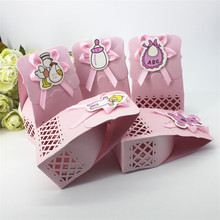12pcs/lot Carved Hollow Pink Girl Chocolate Packing Bag Baby Shower Birthday Party Favor Gift Box Funny Children Day Sugar Box