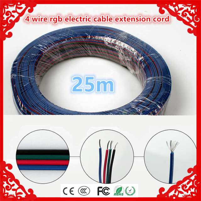 wholesale 25m 4 pin connector 4 wire rgb electric cable extension ...