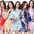 RB013 Japonés Yukata Kimono Albornoces Mujeres Satén de Seda Vintage Robe Camisones de Dormir Más El Tamaño S-XXL 14 Colores