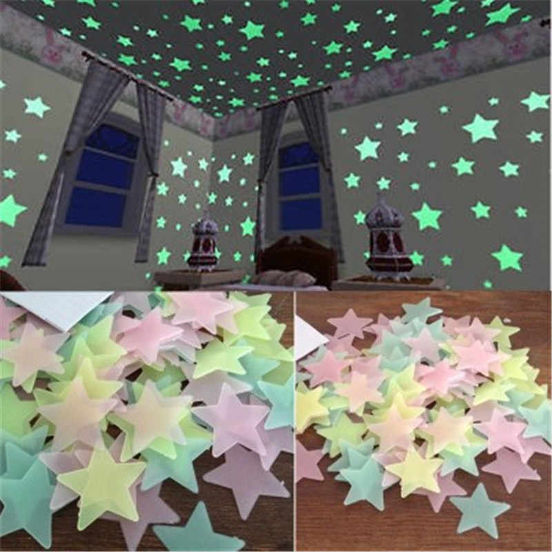 Carte Da Parati 50pcs 3d Stars Glow In The Dark Luminosa Fluorescente Wall Stickers Per I Bambini Del Bambino Camera Da Letto Soffitto Complementi Arredo Casa