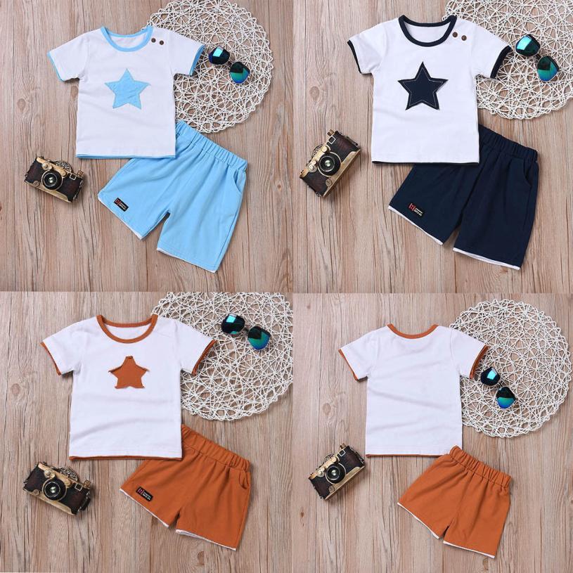 2 шт. Комплект для мальчиков пятиконечная звезда вышивка короткий рукав Футболка для мальчиков топы + шорты Одежда для мальчиков для маленьк...