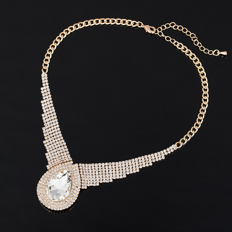Ecesha Official Store Luxury Gold Color Full Rhinestone Chain Choker Necklace Fashion Water Drop Acrylic Collar Necklaces  Pendants For Women