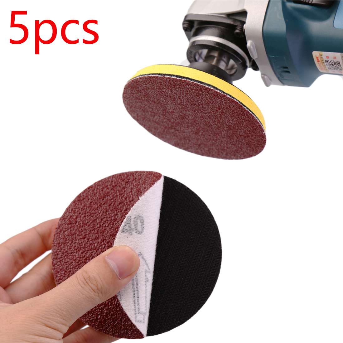 Abrasive Paper  5pcs 125mm Red Circular Flocking Polishing Disc Grits 80-1000 Dremel Tool Tool Accessories Felt Wheel Polishing