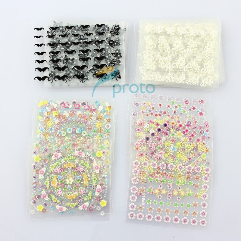 Makartt 50 Sheets/pack  3D Nail DecalsTip Nail Art Sticker Mix Color Self-adhesive Flower Decal DecorationWholesaleSKU:B0172 50 sheets mix color 3d design nail art sticker tips decal decorations beauty tools