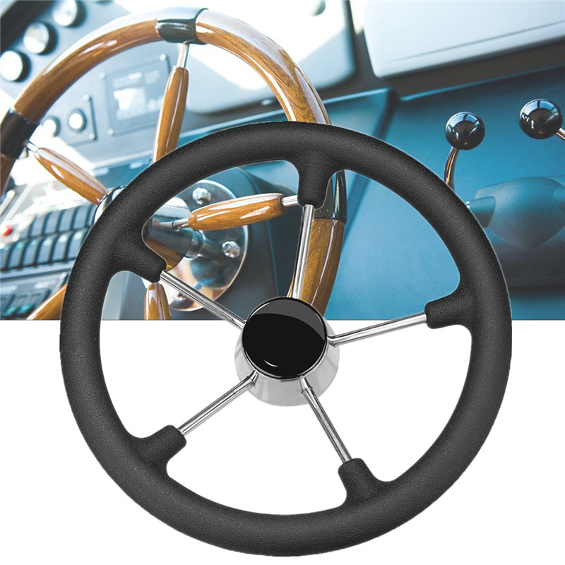 13-1/2 Inch Marine Steering Wheel Destroyer 5 Spoke With Black Foam Grip - Boat 304 Stainless Steel Fits standard 3/4 Shaft