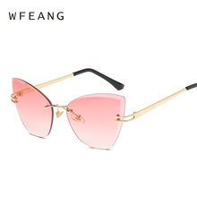 WFEANG Fashion frameless Cat Eye Sunglasses Women Brand Designer Multicolor Sun Glasses For Driving Eyewear Gafas De Sol