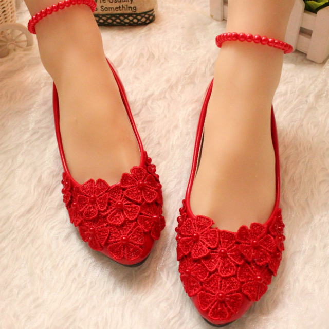 Womens White Red Color Flat Wedding Shoes The Fashion