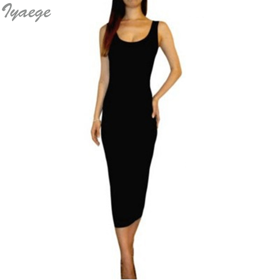 Summer Dress Size Black Womens Ladies Midi Long Jersey Solid Vintage Gothic  Maxi Beach Tank Bandage dresses Female clothing cb604af47cd2