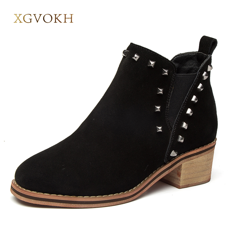 Women Shoes Rivet Boot Winter Warm Shoe Cow Suede Leather Ankle Boots Fashion XGVOKH Brand Women's Boots New Black Short Boots цена и фото