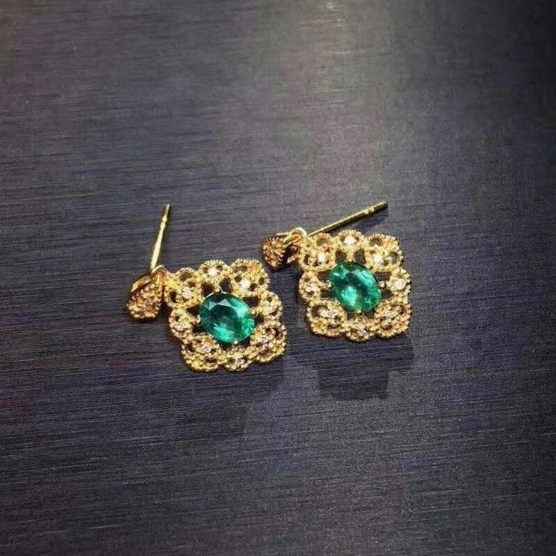 SHILOVEM 925 sterling silver Natural Emerald earrings classic fine Jewelry women wedding women wholesale je030401agml shilovem 925 sterling silver emerald stud earrings classic fine jewelry women wedding women gift wholesale jce040601agml