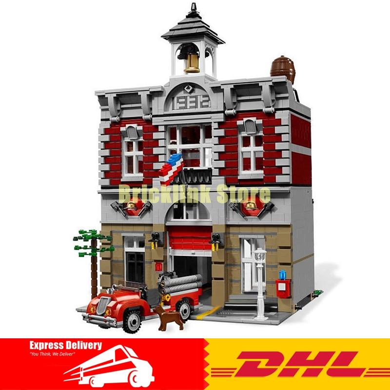 In-Stock 2313Pcs Lepin 15004 City Street Fire Brigade Model Building Kits Blocks Bricks Compatible 10197 free shipping lepin 15004 2313pcs city creator series fire brigade model building blocks bricks toys for children gift compatible 10197