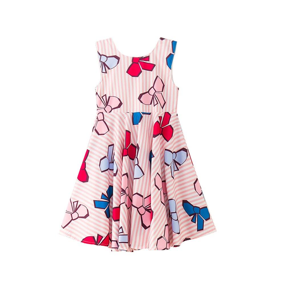 B-S30 Nouvelle Mode Filles Élégant Robes Filles Princesse Robe Filles Vêtements D'été 4-14 T ados Enfants Arc-noeud Imprimer Casual Robe
