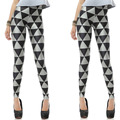 2014 new women' spring autumn sexy slim high elastic black and white geometry triangle geometry ankle length legging
