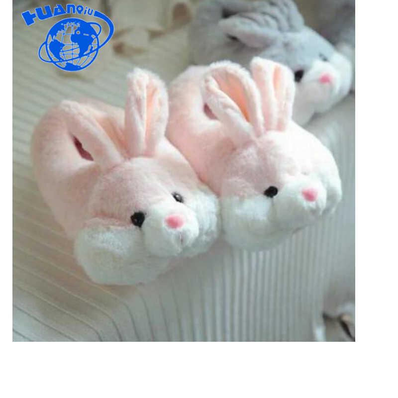 HUANQIU Karikatür Ev pamuk terlikler Sıcak Sevimli Tavşan Gri Tavşan Tozu Tavşan Kadınlar pamuklu ayakkabılar Ev Ayakkabı Kayma Wyq112