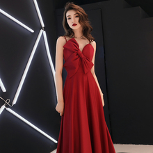 Burgundy Big Ribbon Spaghetti Strap Women Chinese Dress Satin Sexy Exquisite Slim Evening Party Gown With Bandage Long Cheongsam