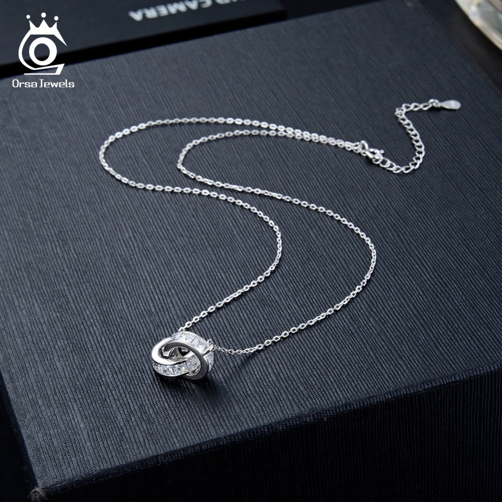 Image 3 - ORSA JEWELS 100% Real 925 Woman Twice Round Pendants Necklaces Sterling Silver Double AAA CZ Stylish Female Party Jewelry SN137-in Necklaces from Jewelry & Accessories