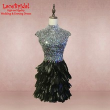 Luxury Dubai A Line Black Short Feather Cocktail Dresses 2017 with Sequined Bodice Keyhole Party Prom Gown gown de cocktail TC17