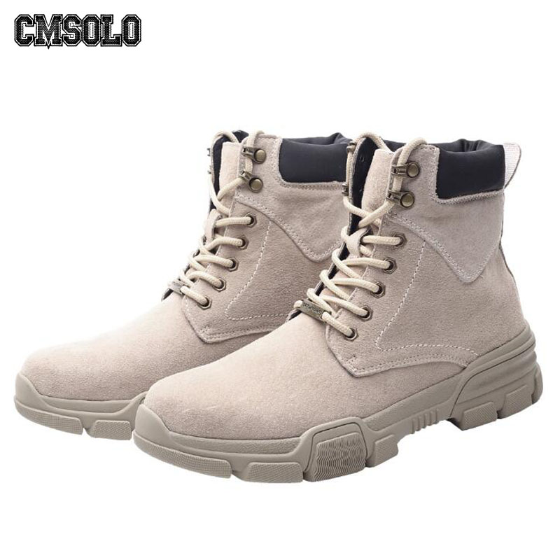 CMSOLO Boots Men Leather Warm Military Boots Large Size British Style Trend Man Boot Plush Martin Boots Men Brand Waterproof New