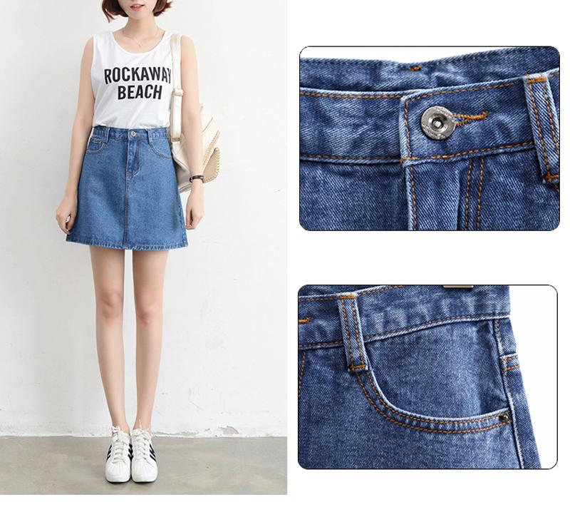 Lucyever Fashion Korean Summer Women Denim Skirt High Waist Black Mini Skirts Package Hip Blue Jeans Harajuku Plus Size Cotton 10