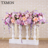 New artificial floral Roman fence window wedding signing table decoration stage road lead wedding decoration props silk flower
