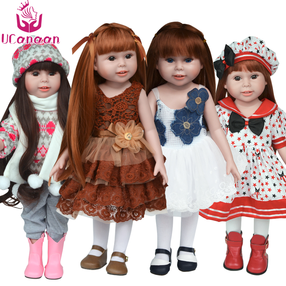 UCanaan Doll Clothes and Shoes (Not Contain doll) Fits 18 American Girl Doll Whole Outfit Clothes Bows Hat Shoes Accessories