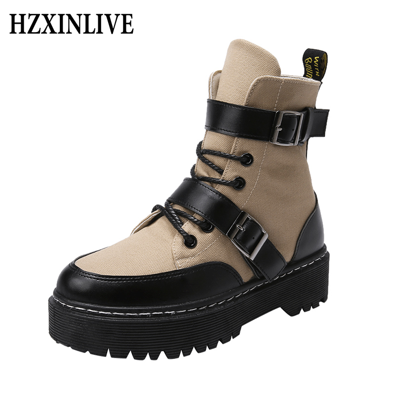 HZXINLIVE 2018 New Winter Women Boots Shoes Waterproof Sleeves High Tube Canvas Flat Boots Tower Buckle Stitching Zapatos Mujer stitching canvas embroidery flat shoes