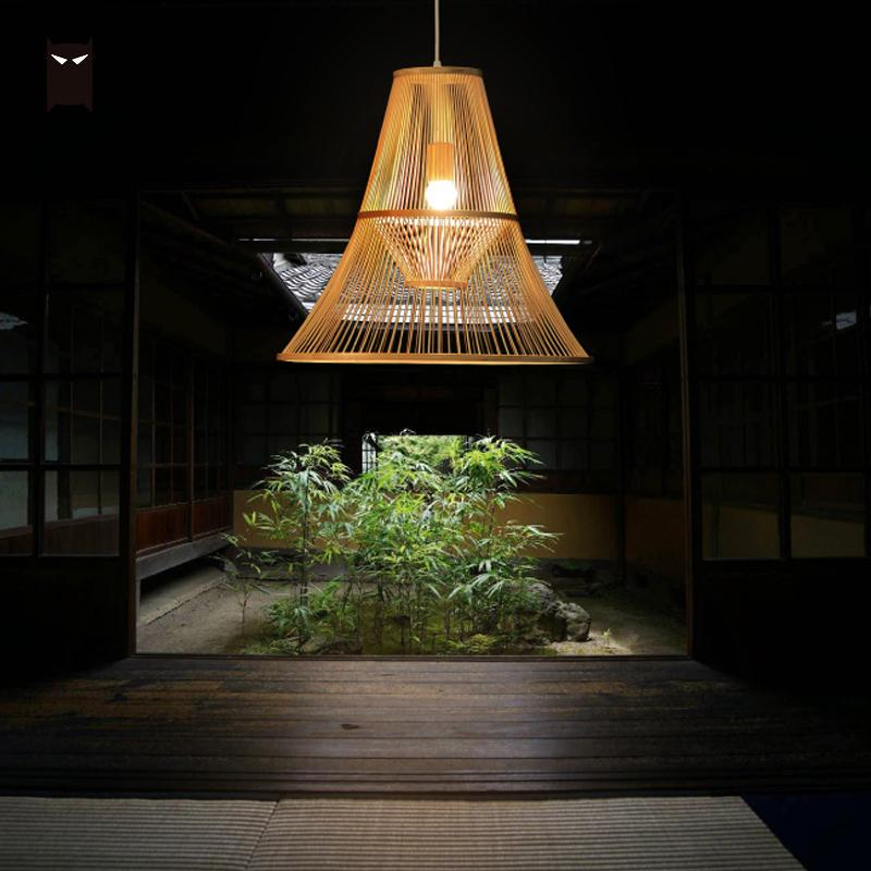 Bamboo Wicker Rattan Shade Pendant Light Fixture Modern Craft Hanging Ceiling Lamp E27 E26 LED Bulb Luminaire Design 110V 220V rh loft vintage copper base edison led bulb iron shade ceiling hanging industrial pendant lamp light lighting e27 e26 110v 220v