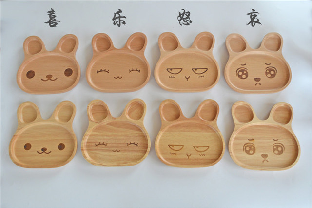 Japanese wooden tableware creative children\u0027s cartoon plate meal plate lovely snack plate frame compote tray & Japanese wooden tableware creative children\u0027s cartoon plate meal ...