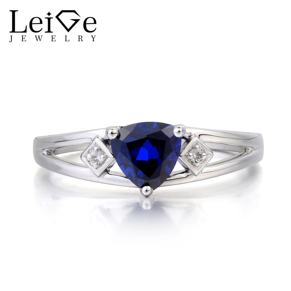 Leige Jewelry Blue Sapphire Ring Promise Ring Blue Gems September Birthstone Trillion Cut Gemstone 925 Sterling Silver RingLeige Jewelry Blue Sapphire Ring Promise Ring Blue Gems September Birthstone Trillion Cut Gemstone 925 Sterling Silver Ring