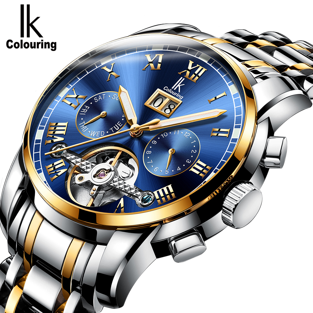 IK Colouring Elegant Mens Automatic Mechanical Wristwatch Flywheel Business Stainless Steel Dress Watch Auto Date Montre Homme