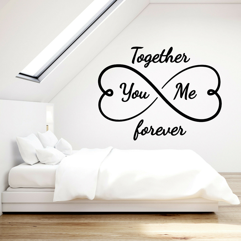 US $5.98 25% OFF|Love Vinyl Wall Decal for Master Bedroom You And Me  Together Forever Infinity Hearts Art Stickers Home Interior Decor D630-in  Wall ...