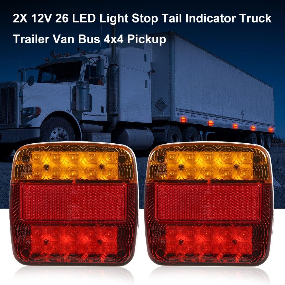 2X 12V 26 Stop Tail Indicator LED Light Truck Trailer Van