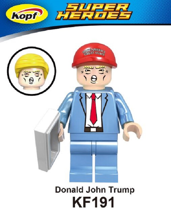 Building Blocks Super Heroes Funny Figures Donald John Trump With Two Color Hat Simpson Batman Bricks Toys for children KF191 super heroes batman the scuttler building blocks new year gift diy figures toys for children compatible lepins 3d model
