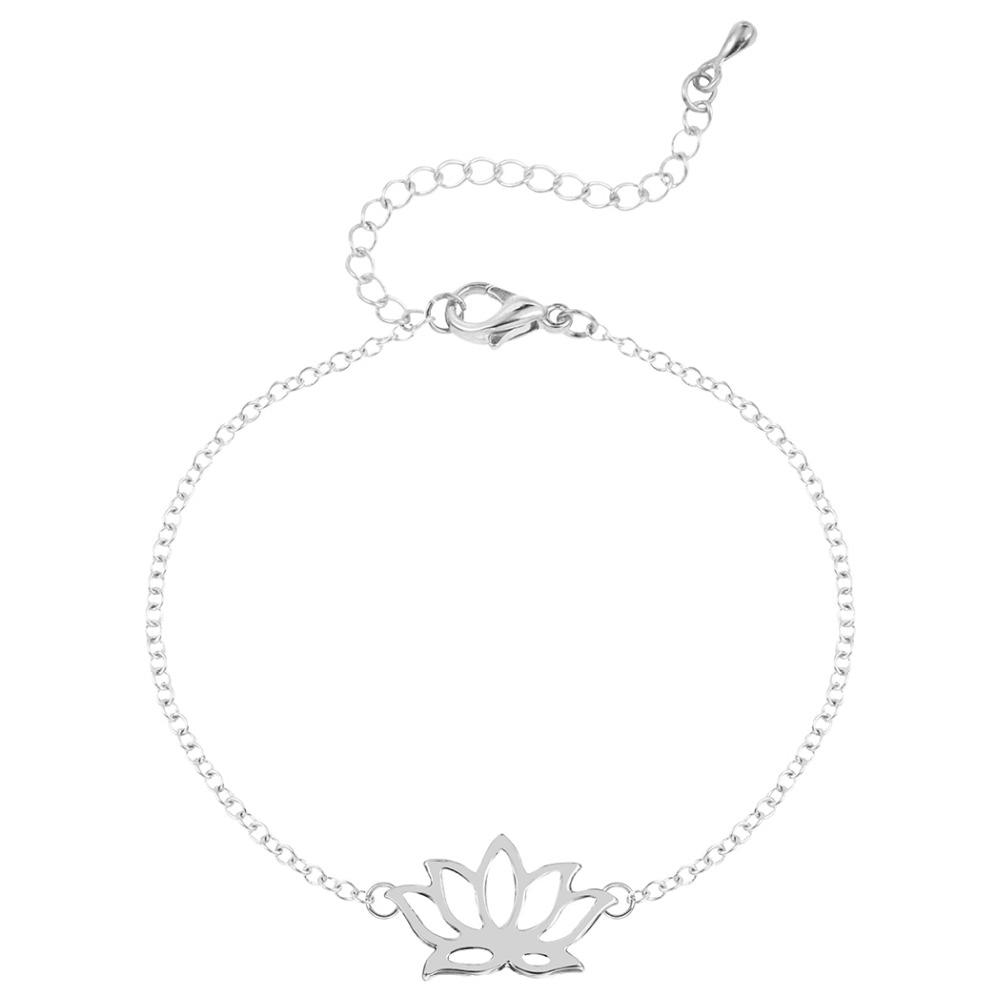 QIAMNI 10pcs/lot Wholesale Beautiful Lotus Bracelet Cute Jewelry Gift for Woman and Girls