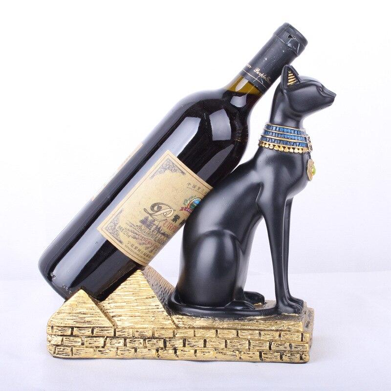 Résine egypte chat dieu vin Fortune Statue Animal décoration artisanat casier à vin accessoires décoration de la maison