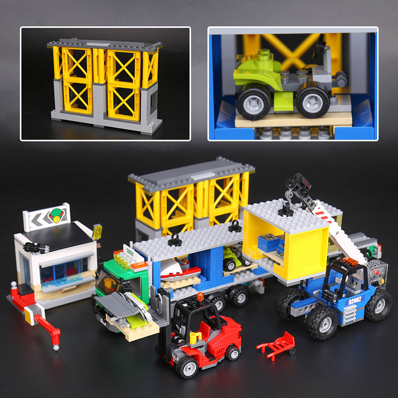 New Lepin 02082 City Series The Cargo Terminal Set 60169 Building Blocks Bricks Educational Toys DIY for legoINGly Birthday Gift lepin 02008 the cargo train 959pcs city series legoingly 60052 plate sets building nano blocks bricks toys for boy gift