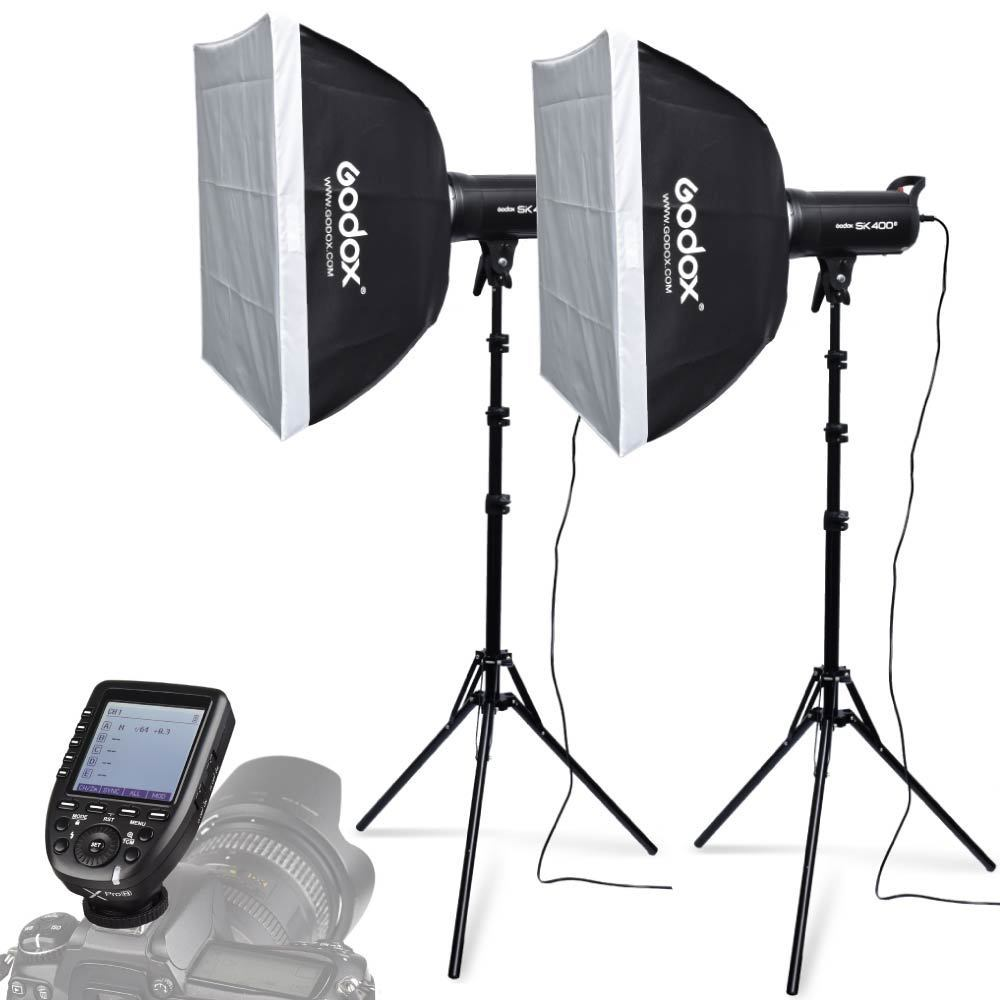 2X Godox SK400II 400W Studio Flash Strobe+Softboxes +Light Stand +Xpro C Trigger Kit for Canon DSLR Camera