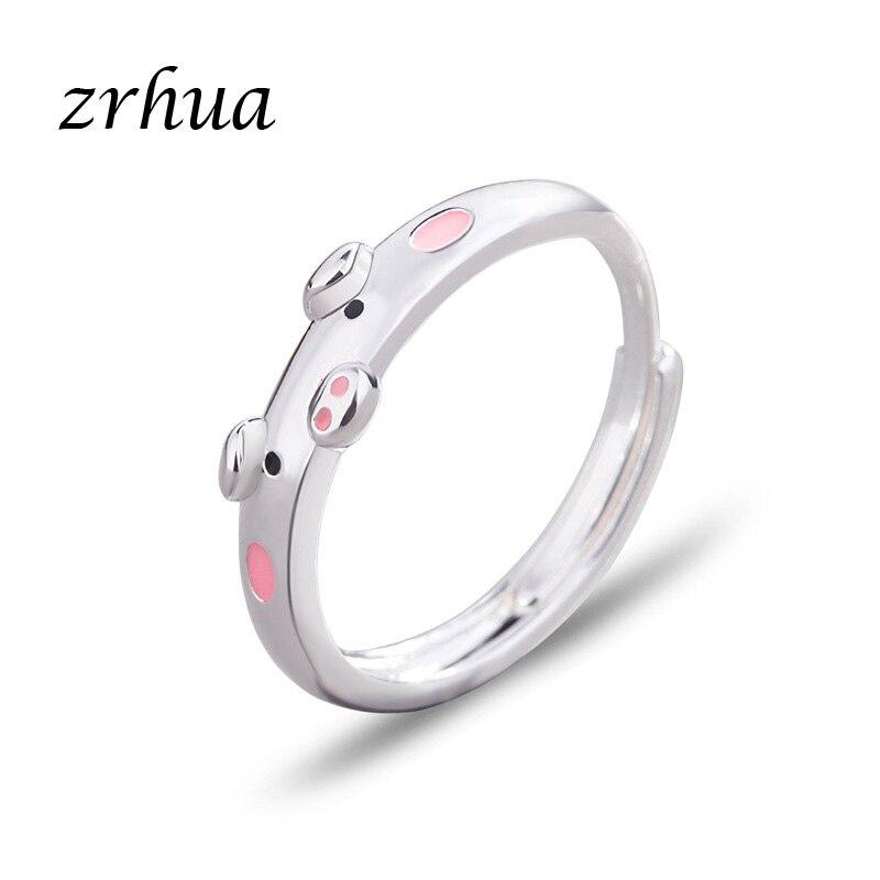 Anillos de plata 925 de calidad superior de ZRHUA 2019 bonitos Anillos de dedo de cerdo para mujeres y niñas venta al por mayor joyería de fiesta novedad femenina Anel caliente
