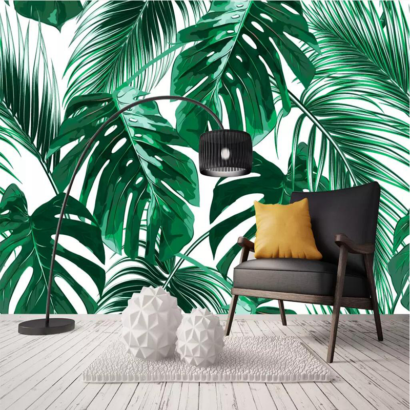YOUMAN Custom Photo 3D Wallpapers HD Banana Leaf Wallpaper Art Bedroom Hotel TV Sofa Background Wall Murals Home Decor Green Art custom wall papers home decor flamingo sea 3d wallpaper murals tv background kitchen study bedroom living room 3d wall murals