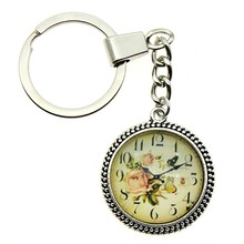 2 Colors Keyring 25mm Vintage Clock Glass Cabochon Keychain Jewelry Gift Dropshipping Supplier
