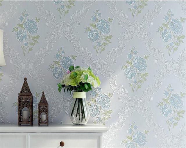 Beibehang pastorale rose bleu 3d papier peint chambre chaleureuse