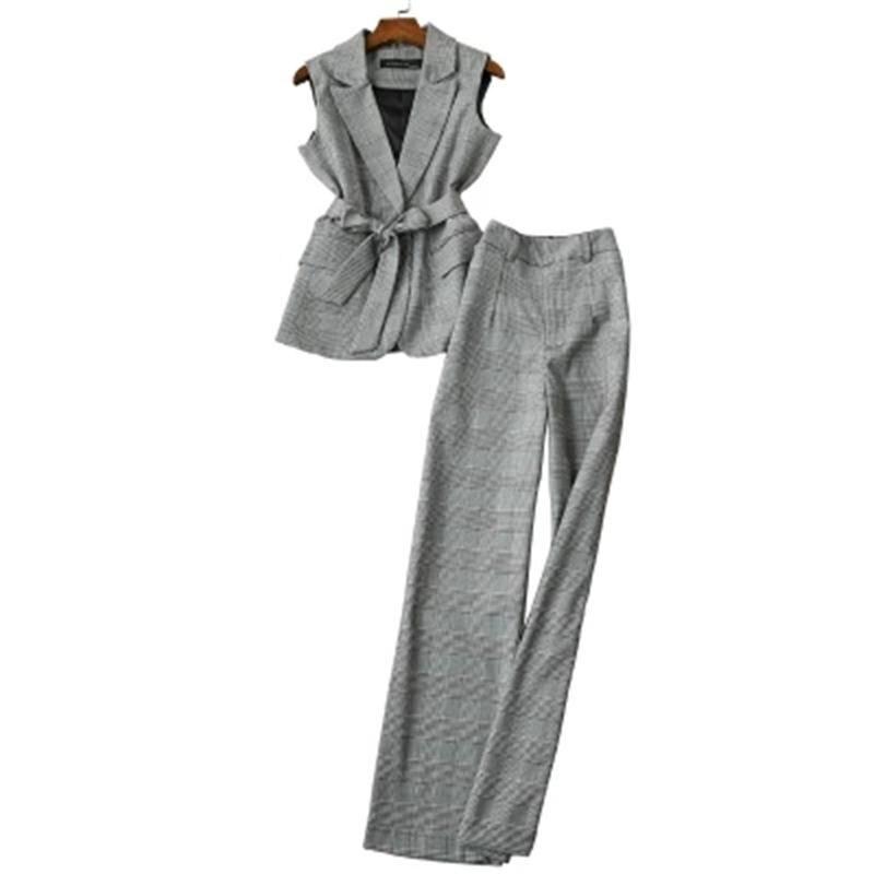 Jambe Manches Mode À Femelle Plaid Féminin Femme De Nouvelle Costumes Automne Carreaux Sans DeuxPièce Costume Large 1 Pantalon Gilet 8w0ONnkZPX